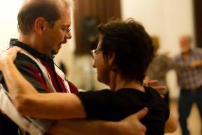 A couple stands in waltz position on the dance floor. Photo by Sam Whited, used here under Creative Commons license with thanks.